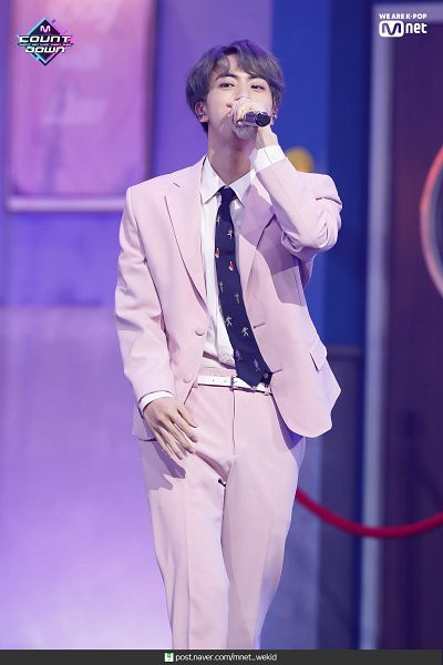 Tags: Television Show, K-Pop, BTS, Boy With Luv, Jin, English Text, Singing, Text: URL, Tie, Gray Hair, Stage, Pink Pants