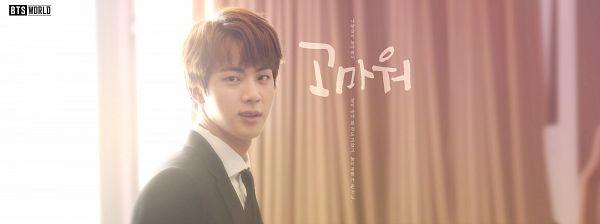 Tags: K-Pop, BTS, Jin, Window, Curtain, English Text, Korean Text, Suit, Tie, Netmarble, BTS World