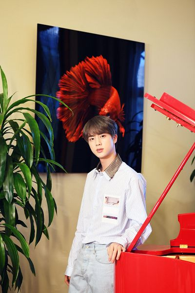 Tags: K-Pop, BTS, Jin, Gray Pants, Black Eyes, Plant, Indoors, Musical Instrument, Canvas, Piano, Hulu Japan, Twitter