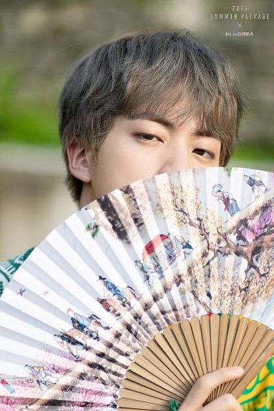 Tags: K-Pop, BTS, Jin, Covering Mouth, Fan, Gray Hair, English Text, Eyes Half Closed, BTS 2019 Summer Package, Facebook