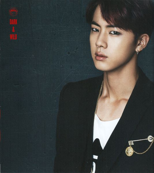 Tags: K-Pop, BTS, Jin, Gray Background, Black Jacket, Text: Album Name, Make Up, Necklace, Serious, Black Eyes, Eyeliner, Black Outerwear