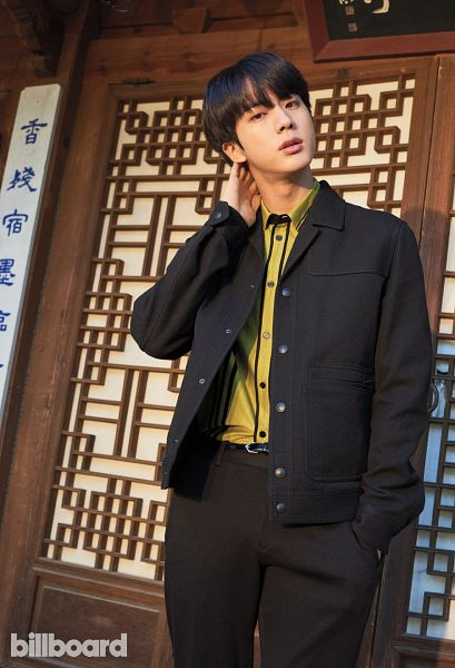 Tags: K-Pop, BTS, Jin, Black Pants, Green Shirt, Black Jacket, Black Eyes, Hand In Pocket, Black Outerwear, Belt, Magazine Scan, Billboard