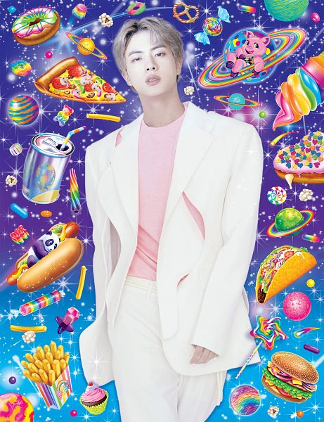Tags: K-Pop, BTS, Jin, Pizza, Hot Dog, White Outerwear, White Jacket, Donut, Walking, White Pants, Sweets, Food