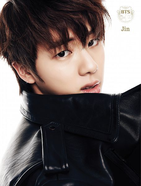 Tags: K-Pop, BTS, Jin, White Background, Leather Jacket, Black Jacket, Text: Artist Name, Close Up, Light Background, 2 Cool 4 Skool, Android/iPhone Wallpaper