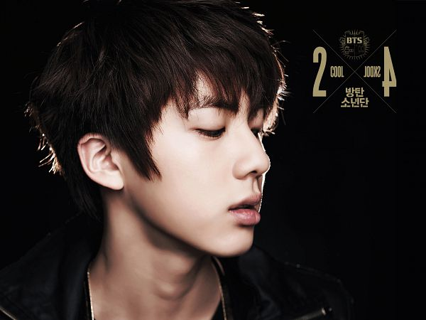 Tags: K-Pop, BTS, Jin, Looking Down, Eyes Closed, Text: Album Name, Black Background, Dark Background, Korean Text, Close Up, Text: Artist Name, 2 Cool 4 Skool