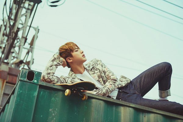 Tags: K-Pop, BTS, Jin, Black Eyes, Arm Support, Skateboard, Laying On Side, Black Pants, Laying Down, The Most Beautiful Moment in Life pt.2