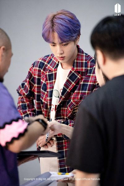 Tags: K-Pop, BTS, Jin, Black Eyes, Plaided Print, Serious, Purple Hair, Looking Down, Plaided Shirt