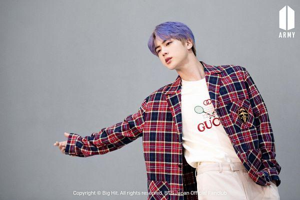 Tags: K-Pop, BTS, Jin, Plaided Print, Purple Hair, Gray Background, Hand In Pocket, Plaided Shirt, Black Eyes, Dutch Angle