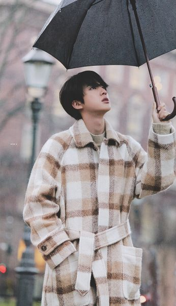 Tags: K-Pop, BTS, Jin, Looking Up, Coat, Serious, Black Eyes, Plaided Coat, Brown Outerwear, Umbrella, Hand In Pocket, Plaided Print