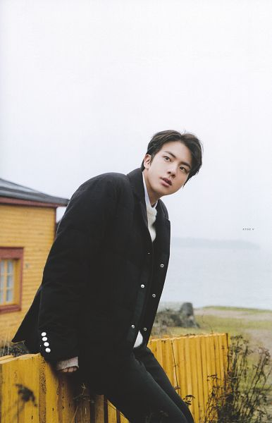 Tags: K-Pop, BTS, Jin, Looking Away, Bend Over, Sitting On Fence, Black Eyes, Coat, Black Outerwear, Fence, Serious, Scan