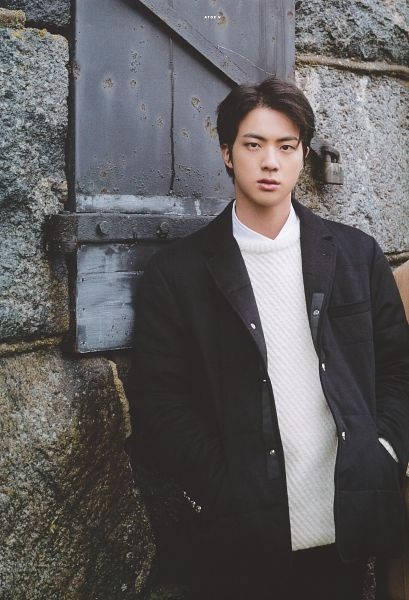 Tags: K-Pop, BTS, Jin, Coat, Wall, Serious, Black Pants, Hand In Pocket, Leaning On Wall, Scan, BTS 2020 Winter Package