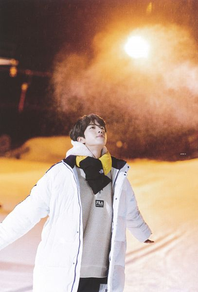 Tags: K-Pop, BTS, Jin, Outdoors, Gloves, Black Gloves, Hood, White Outerwear, Scarf, Hoodie, Looking Up, Coat