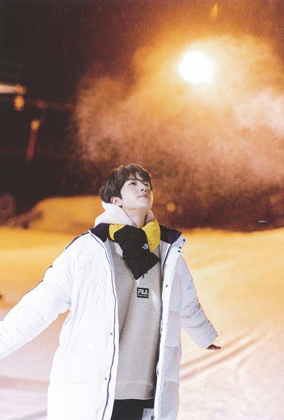 Tags: K-Pop, BTS, Jin, Hoodie, Looking Up, Coat, Snow, Night, Outdoors, Gloves, Black Gloves, Hood