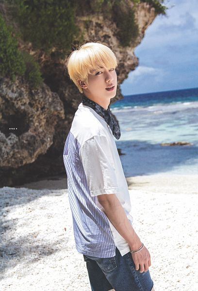 Tags: K-Pop, BTS, Jin, Short Sleeves, Beach, Water, Jeans, Blue Shorts, Outdoors, Bracelet, Sand, Shorts