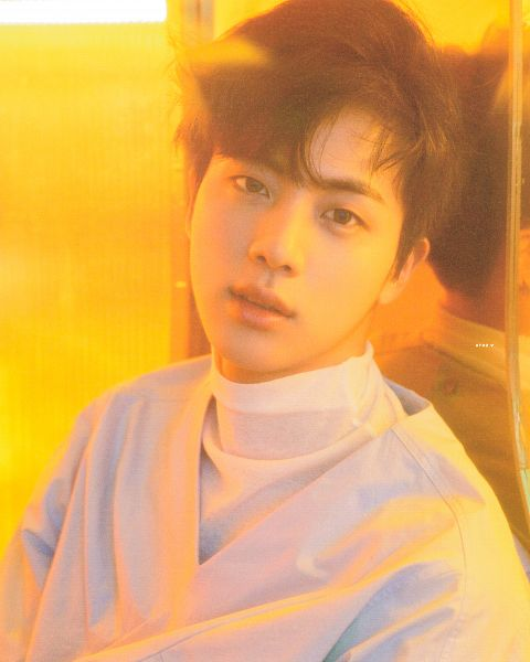 Tags: K-Pop, BTS, Jin, Blue Shirt, Wall, Reflection, Leaning On Wall, Contact Lenses, Collar (Clothes), Turtleneck, Indoors, Scan