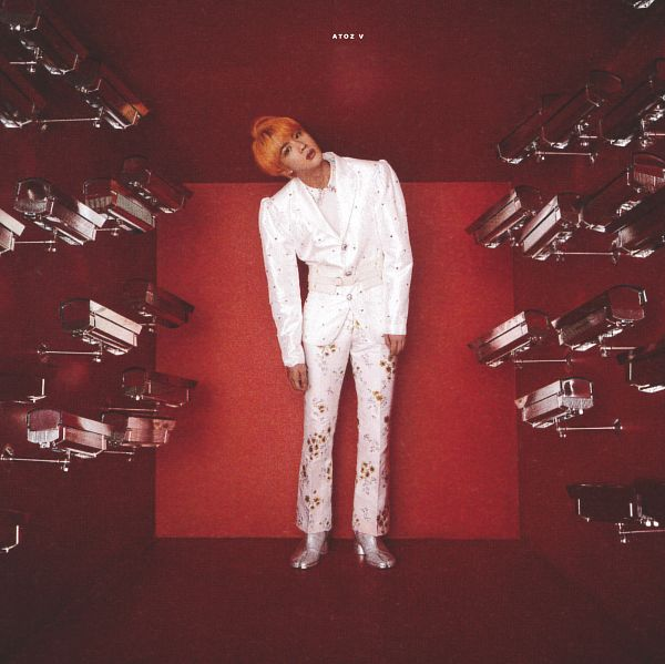Tags: K-Pop, BTS, Jin, Red Background, White Outerwear, White Pants, Camera, Silver Footwear, Shoes, Boots, White Outfit, White Jacket