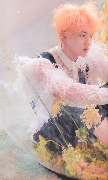 Tags: K-Pop, BTS, Jin, Yellow Flower, Light Background, Vest, Shorts, Bubbles, Collar (Clothes), Flower, Black Shorts, Scan