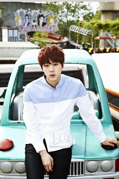 Tags: K-Pop, BTS, Jin, Serious, Black Pants, Multi-colored Shirt, Red Hair, Amusement Park, Car, Blue Shirt, Ize&, Magazine Scan