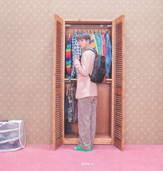 Tags: K-Pop, BTS, Jin, Indoors, Shoes, Plaided Print, Plaided Shirt, Backpack, Gray Hair, Closet, Bag, Wall