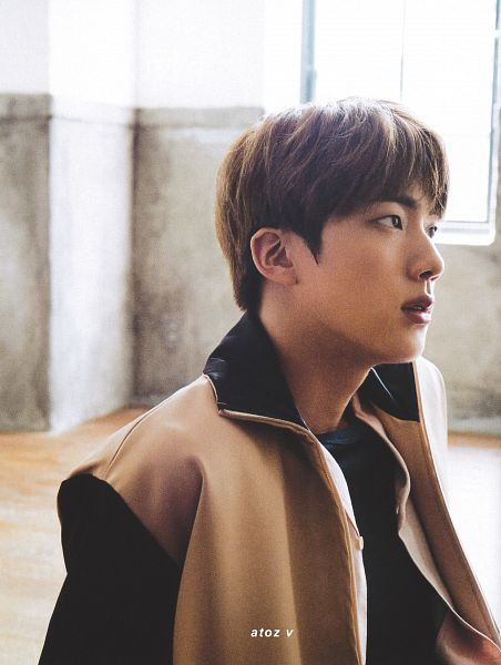 Tags: K-Pop, BTS, Jin, Looking Up, Brown Outerwear, Black Eyes, Serious, Anan Magazine, Magazine Scan