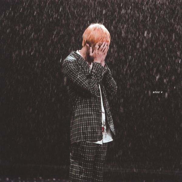 Tags: K-Pop, BTS, Epiphany, Jin, Black Background, Wet Hair, Covering Face, Water, Checkered Jacket, Checkered Pants, Hand On Head, Floral Shirt