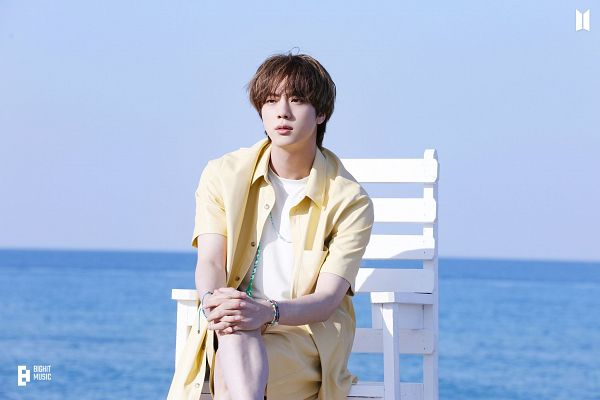 Tags: K-Pop, BTS, Butter, Jin, Yellow Shorts, Bracelet, Water, Stool, Chair, Sitting On Chair, Outdoors, Short Sleeves