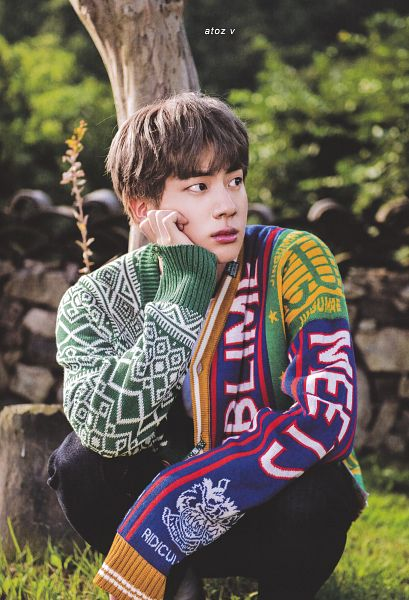 Tags: K-Pop, BTS, Jin, Arm Support, Hand On Cheek, Grass, Tree, Looking Away, Cardigan, Hand On Head, Outdoors, Crouching