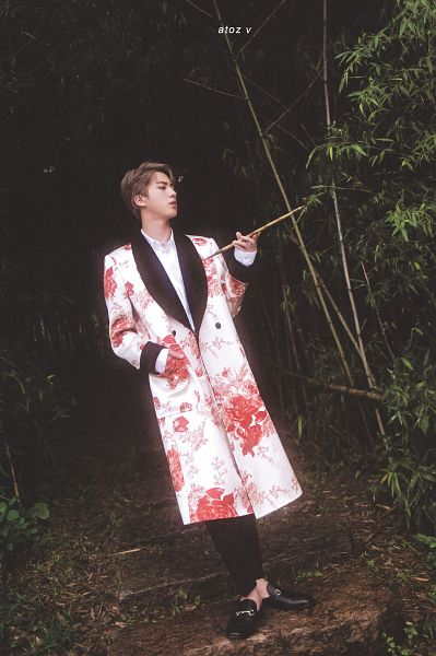 Tags: K-Pop, BTS, Jin, Plant, Bamboo, Forest, Black Pants, Rocks, Robe, Hand In Pocket, Floral Print, Tree