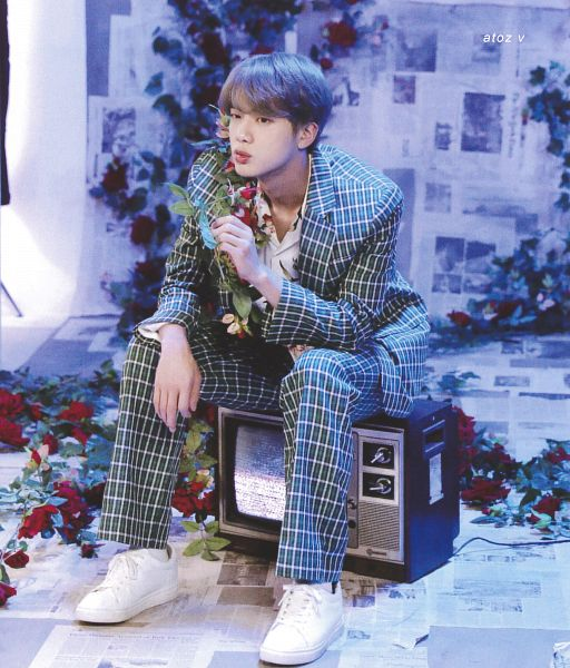 Tags: K-Pop, BTS, Epiphany, Jin, Green Outerwear, White Footwear, Flower, Green Pants, Red Flower, Television, Gray Hair, Scan