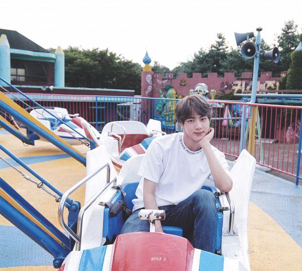 Tags: K-Pop, BTS, Jin, Jeans, Amusement Park, Blue Pants, Arm Support, Gray Hair, BTS Memories of 2019, Scan, BTS 2019 Summer Package