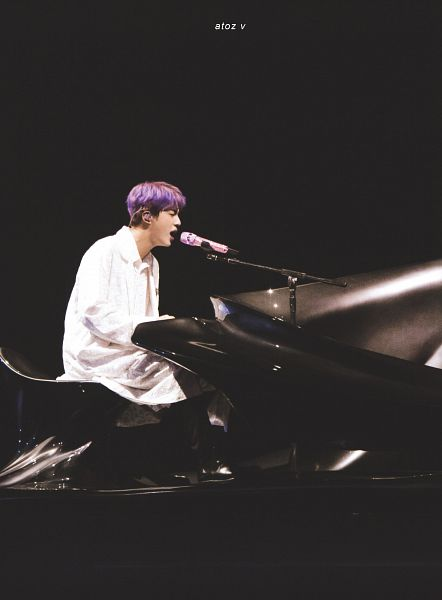 Tags: K-Pop, BTS, Epiphany, Jin, Piano, Earbuds, Black Pants, Musical Instrument, Black Background, Eyes Closed, Singing, Playing Instrument