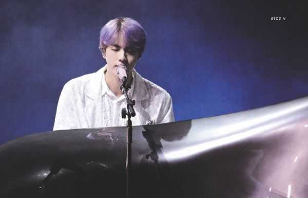Tags: K-Pop, BTS, Epiphany, Jin, Eyes Closed, Stage, Piano, Earbuds, Musical Instrument, Singing, Purple Hair, Playing Instrument