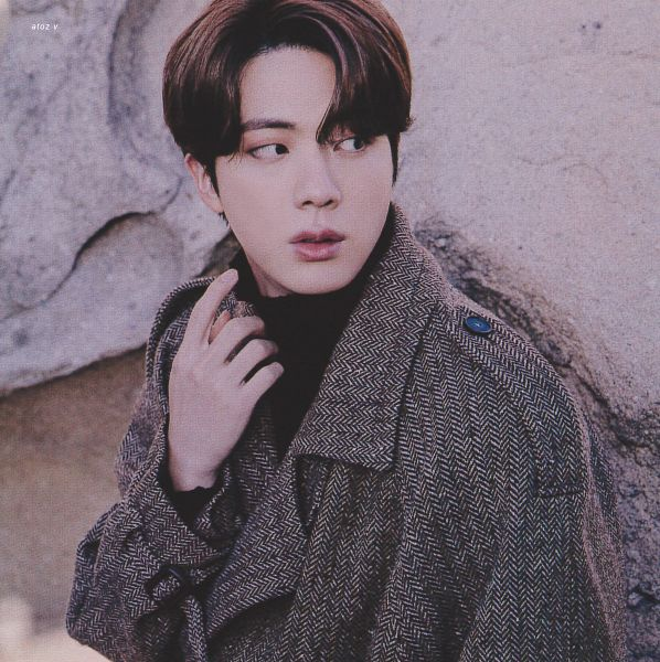 Tags: K-Pop, BTS, Jin, Looking Away, Rocks, Coat, Brown Outerwear, Collar (Clothes), Turtleneck, Serious, BTS 2021 Winter Package, Scan