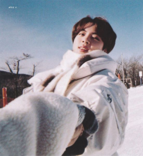 Tags: K-Pop, BTS, Jin, Holding Hands, White Jacket, Grin, Outdoors, Scarf, Snow, White Outerwear, BTS 2021 Winter Package, Scan