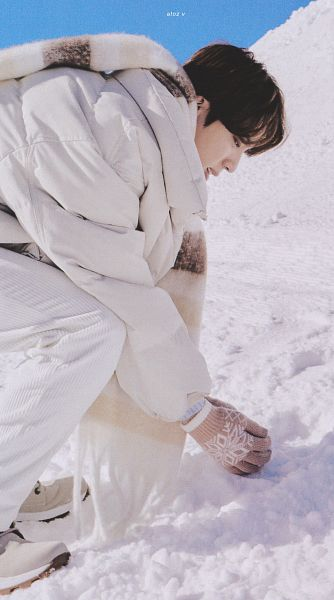 Tags: K-Pop, BTS, Jin, White Jacket, Side View, Outdoors, White Pants, Bend Over, White Outerwear, Scarf, Snow, Gloves