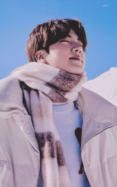 Tags: K-Pop, BTS, Jin, Eyes Closed, White Jacket, Snow, Outdoors, Scarf, White Outerwear, Scan, BTS 2021 Winter Package
