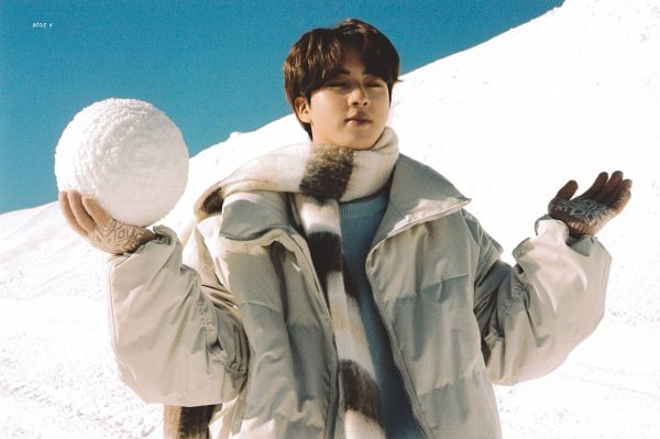 Tags: K-Pop, BTS, Jin, Sweater, Eyes Closed, Outdoors, White Jacket, Snow, White Outerwear, Scarf, Gloves, BTS 2021 Winter Package