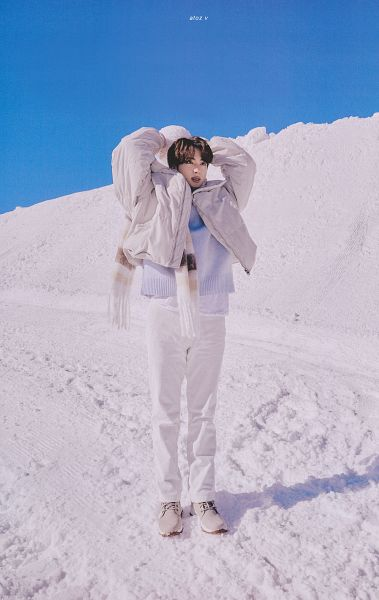 Tags: K-Pop, BTS, Jin, White Pants, Coat, Scarf, Snow, Sweater, Arms Up, Open Coat, Gloves, Outdoors