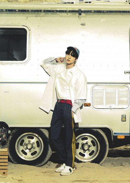 Tags: K-Pop, BTS, Jin, Hat, White Outerwear, White Jacket, Gray Pants, Car, Scan, BTS The Best