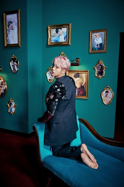 Tags: K-Pop, Bangtan Boys, Jin, Looking Back, Chair, Back, Pink Hair, Barefoot, Kneeling, Armchair, Couch, Frame