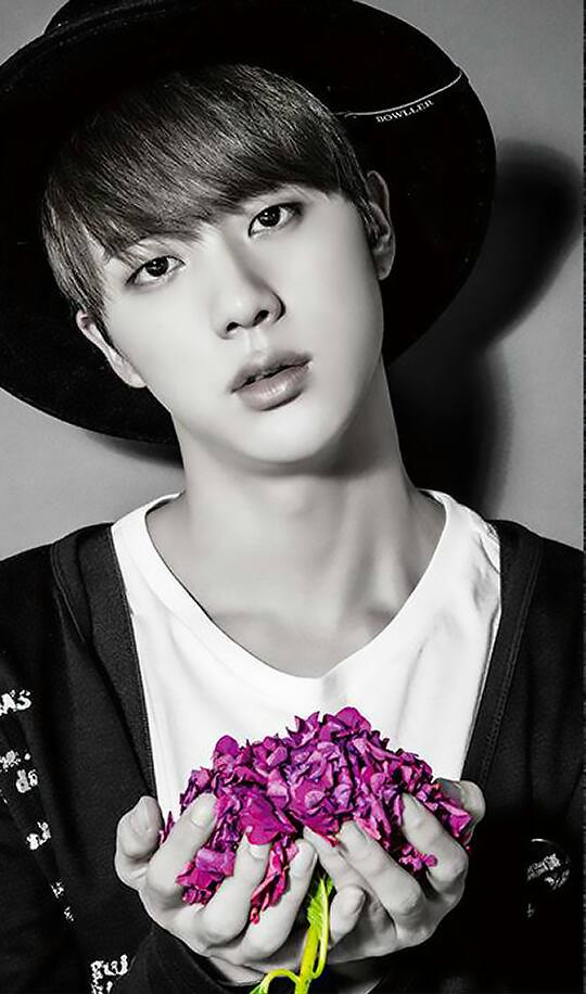 Tags: K-Pop, BTS, I Need U (Japanese Version), Jin, Head Tilt, Hat, Pink Flower, Flower, Black Eyes