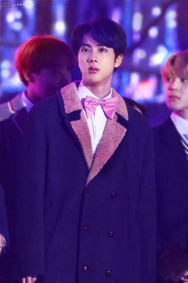 Tags: K-Pop, BTS, Jin, Bow Tie, Black Eyes, Fur, Fur Trim, Pink Neckwear, Coat