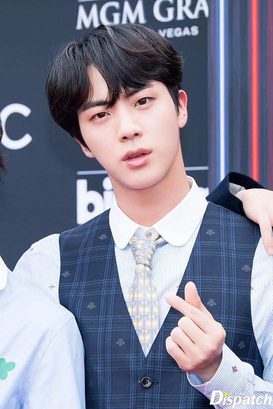 Tags: K-Pop, BTS, Jin, Head Tilt, Striped Shirt, Red Carpet, Vest, Close Up, Collar (Clothes), Heart Gesture, Striped, Tie