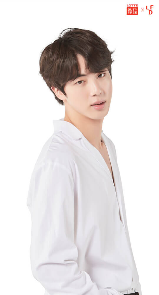 Tags: K-Pop, BTS, Jin, English Text, Text: Magazine Name, Light Background, Logo, White Background, Android/iPhone Wallpaper, Magazine Scan, Scan, Lotte Duty Free