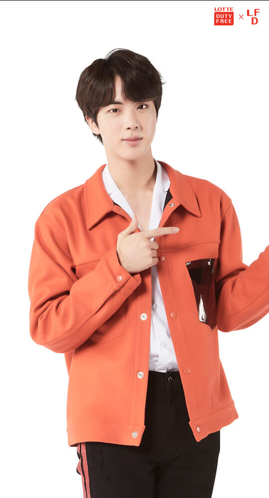 Tags: K-Pop, BTS, Jin, Text: Magazine Name, Light Background, Logo, White Background, English Text, Lotte Duty Free, Android/iPhone Wallpaper, Magazine Scan, Scan