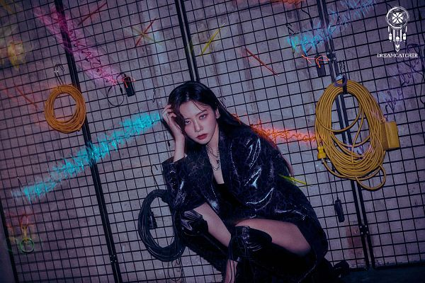 Tags: K-Pop, Dreamcatcher, Jiu, Gray Background, Boots, Bare Legs, Black Footwear, Hand In Hair, Crouching, Necklace, Red Lips, Knee Boots