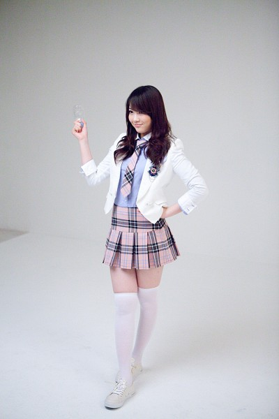Tags: K-Pop, KARA, Jiyoung Kang, Looking Ahead, Blue Shirt, White Outerwear, School Uniform, White Legwear, Checkered Neckwear, Pleated Skirt, Thigh Highs, White Jacket