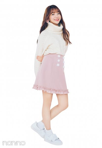 Tags: K-Pop, IZ*ONE, Jo Yuri, Red Lips, Wavy Hair, White Footwear, Skirt, Sweater, Light Background, Arms Behind Back, Collar (Clothes), White Background