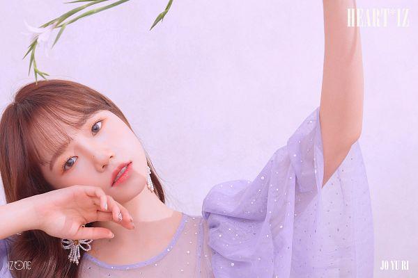 Tags: K-Pop, IZ*ONE, Jo Yuri, White Flower, Blush (Make Up), Text: Album Name, One Arm Up, Pink Background, Flower, Text: Artist Name, Head Tilt, Purple Shirt