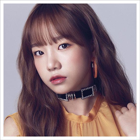 Tags: K-Pop, IZ*ONE, Jo Yuri, White Border, Serious, Choker, Orange Shirt